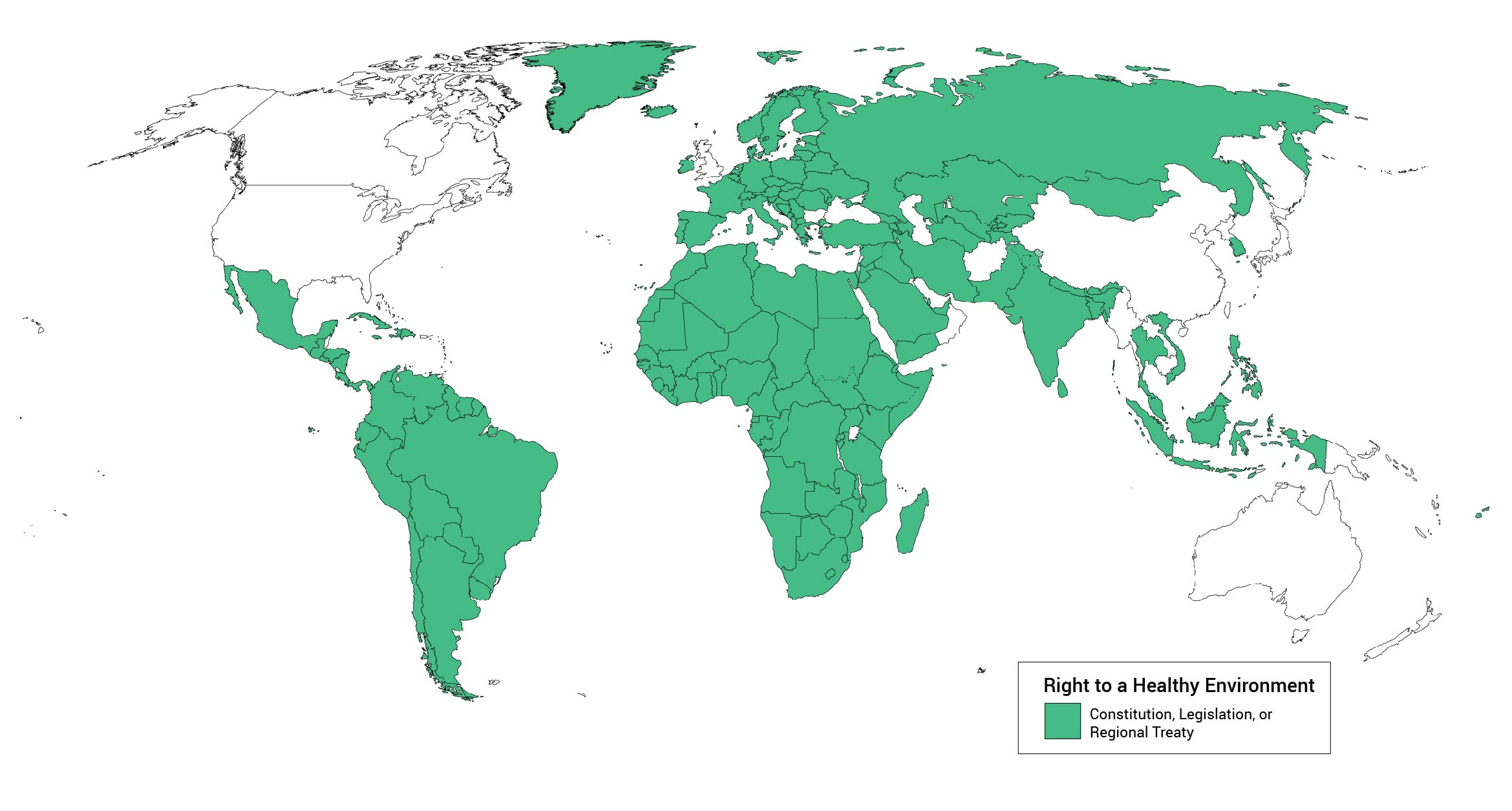map that shows countries that have regulations for right to healthy environment created by Nawon Song