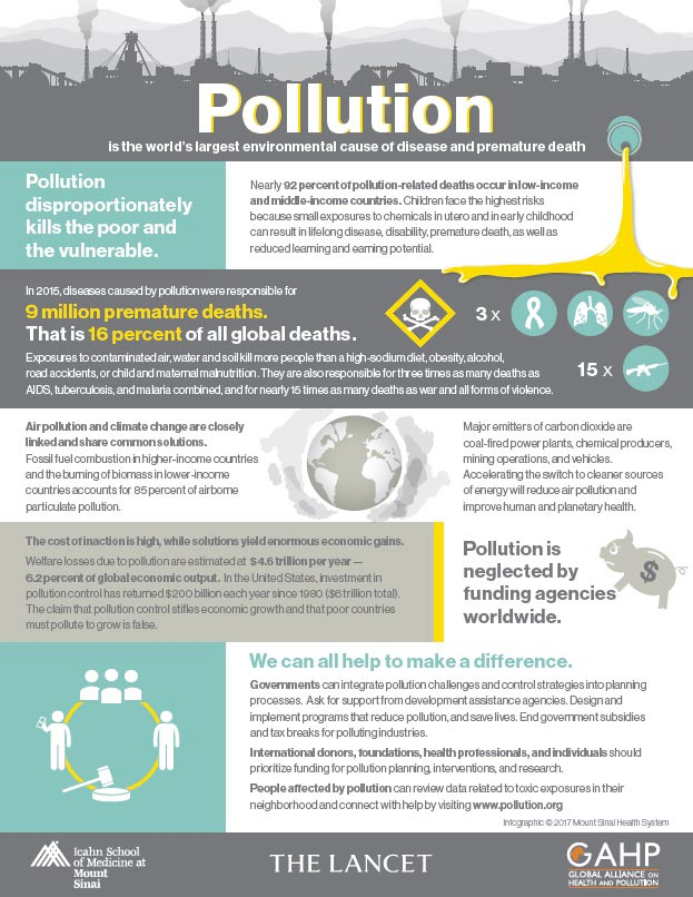 infographic on pollution on death by icahn school of medicine mount sinai